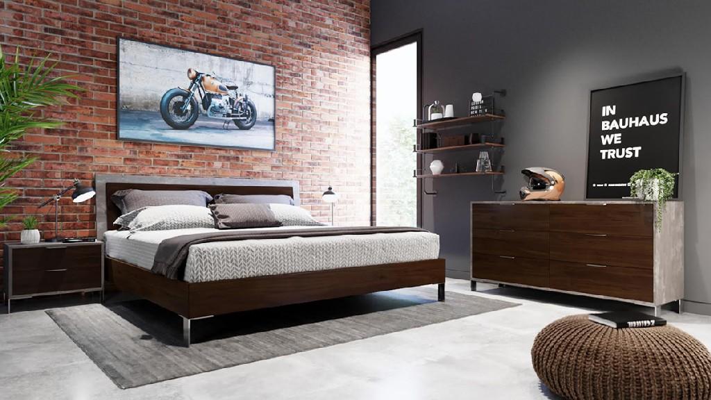 Dark Walnut Concrete Bedroom Set