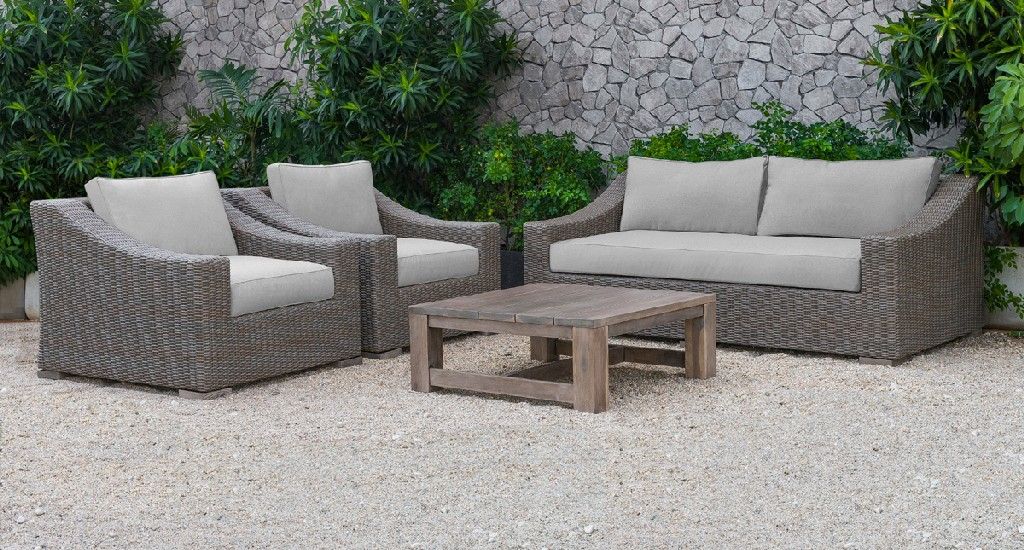 Beige Wicker Sofa Set
