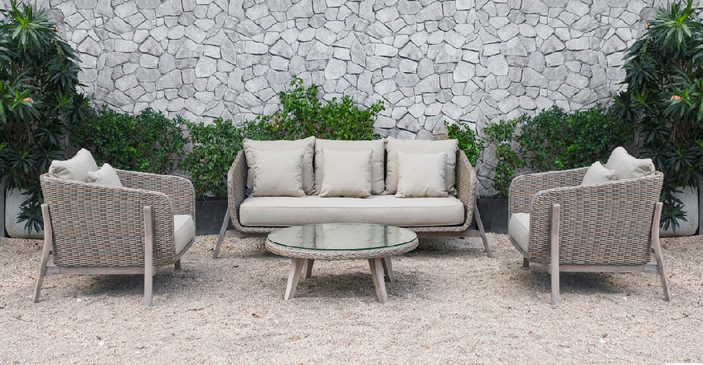 Carillo Beige Wicker Sofa Set