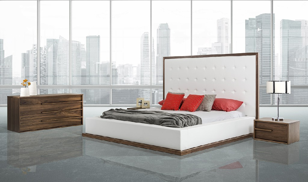 Walnut White Leatherette Bedroom Set