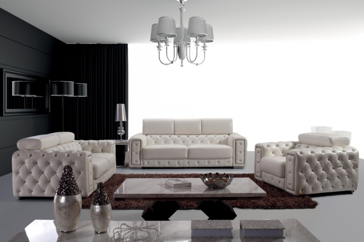Lumy Tufted White Leather Sofa Set Crystals