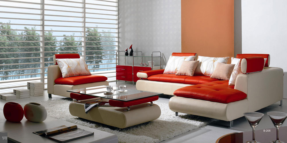 Divani Casa B205 Modern White & Red Leather Sectional Sofa Set in Multi-Toned - VIG Furniture VGBNB205