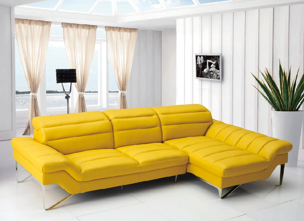 Leven Yellow Leather Sectional Sofa
