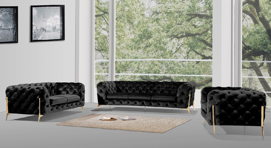VIG Furniture Divani Casa Sheila Modern Black Velvet Sofa Set - VGCA1346-BLK