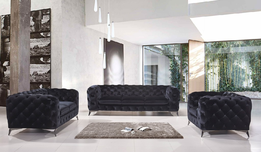 Black Fabric Sofa Set