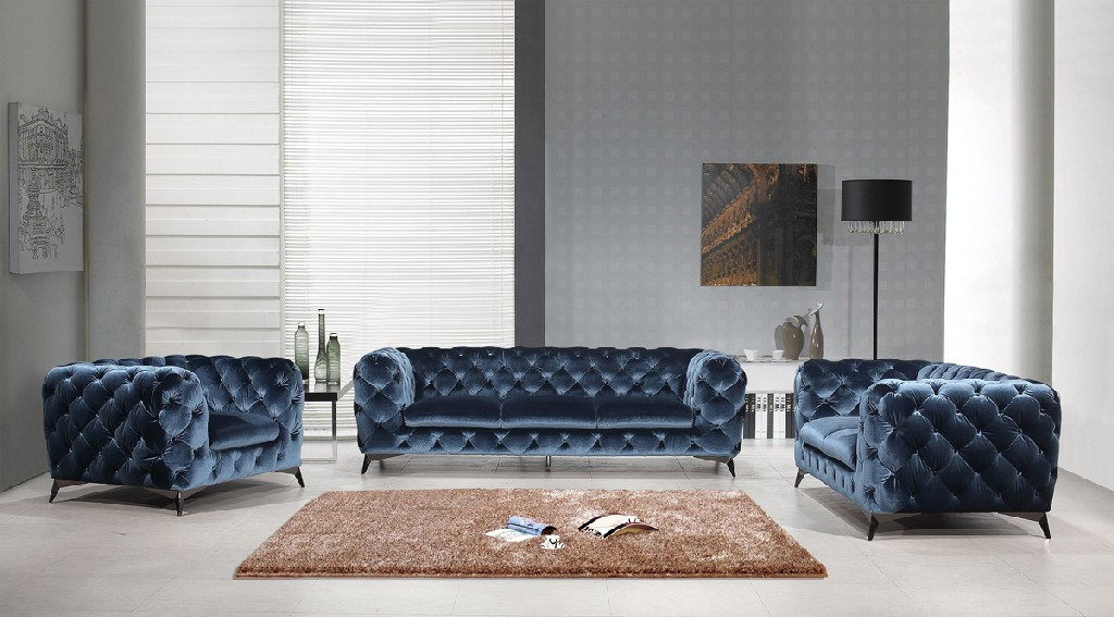 Blue Fabric Sofa Set
