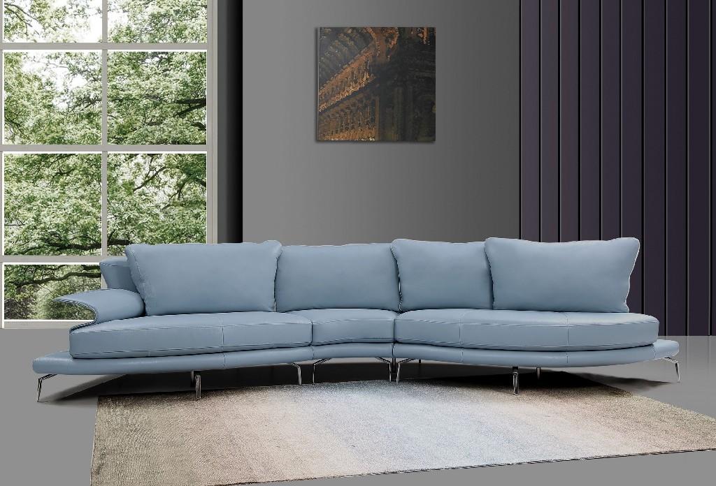 Divani Casa Andover Modern Blue & White Sectional Sofa - VIG Furniture VGCA1859