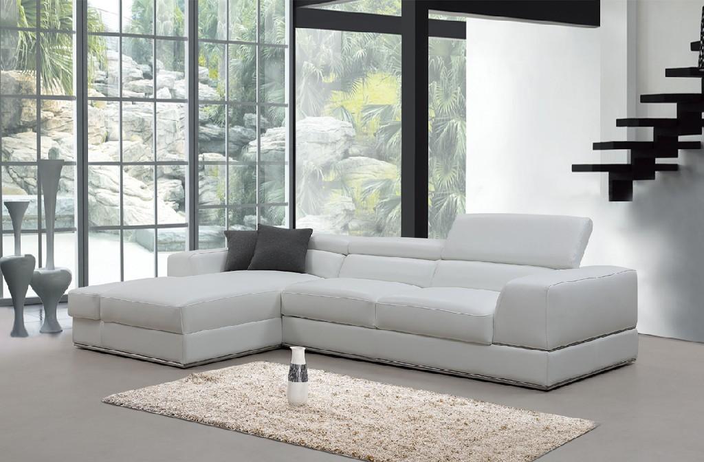 Mini White Leather Sectional Sofa