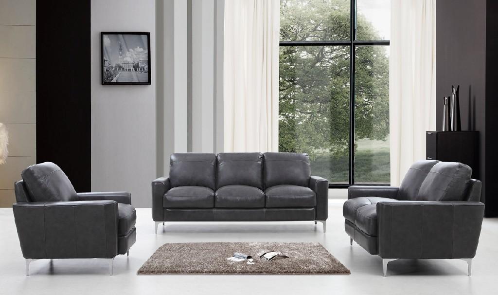 Dark Leather Sofa Set