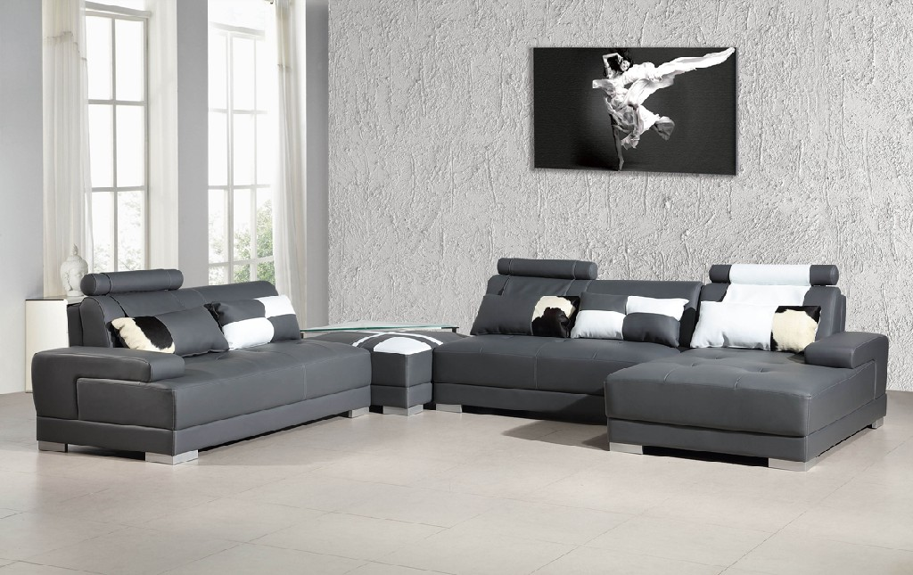 Vig Sectional Leather Sofa Ottoman Glass End Table