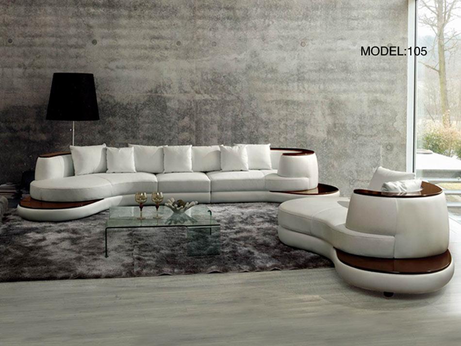Vig Rodus Rounded Corner Leather Sectional Sofa Wood Trim