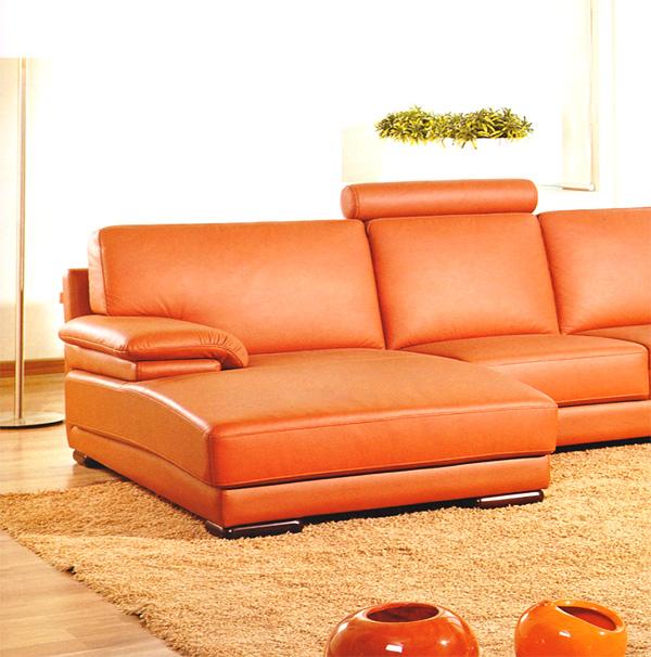 Divani Casa 2227 Modern Leather Sectional Sofa in Orange - VIG Furniture VGEV2227