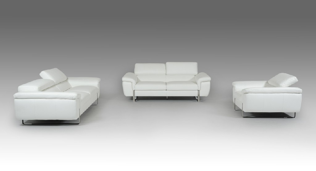 Highline White Top Grain Leather Sofa Set