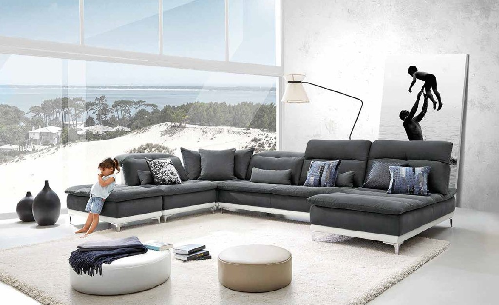 Horizon Fabric Leather Sectional Sofa