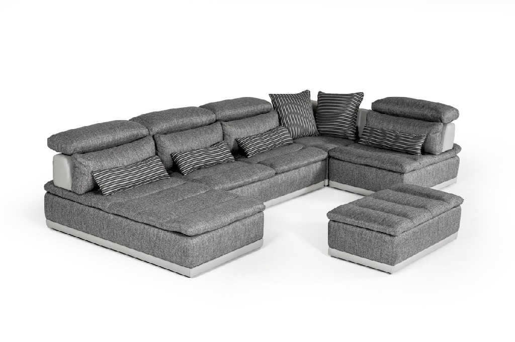 Fabric Leather Sectional Sofa