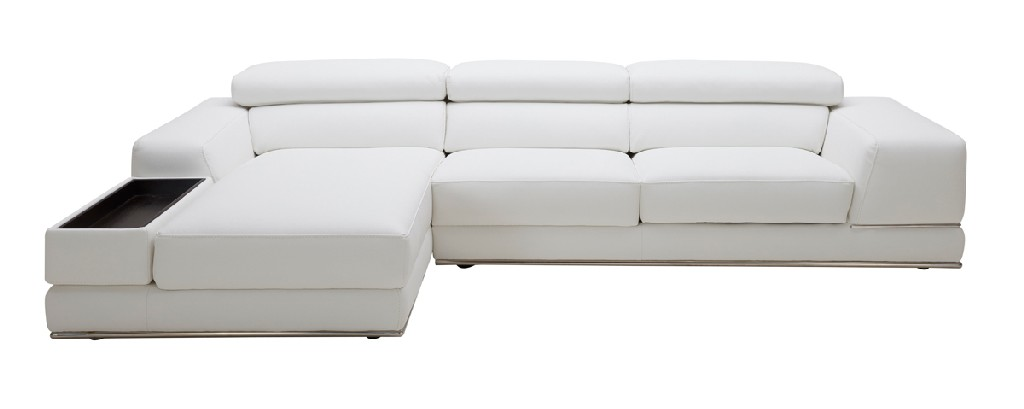 Mini White Leather Sectional Sofa