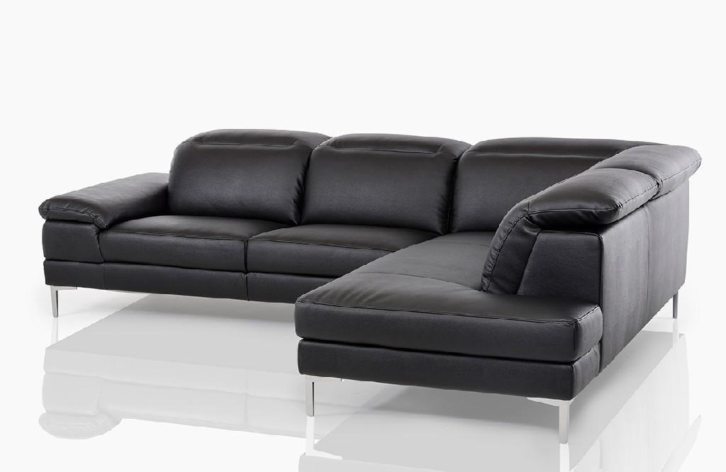 Divani Casa Carnation Modern Black Eco-Leather Sectional Sofa - VIG Furniture VGKK1872-BLK