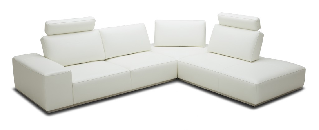 Martha White Leather Sectional Sofa