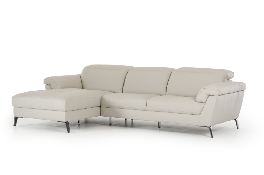 Vig Edelweiss Light Leather Sectional Sofa