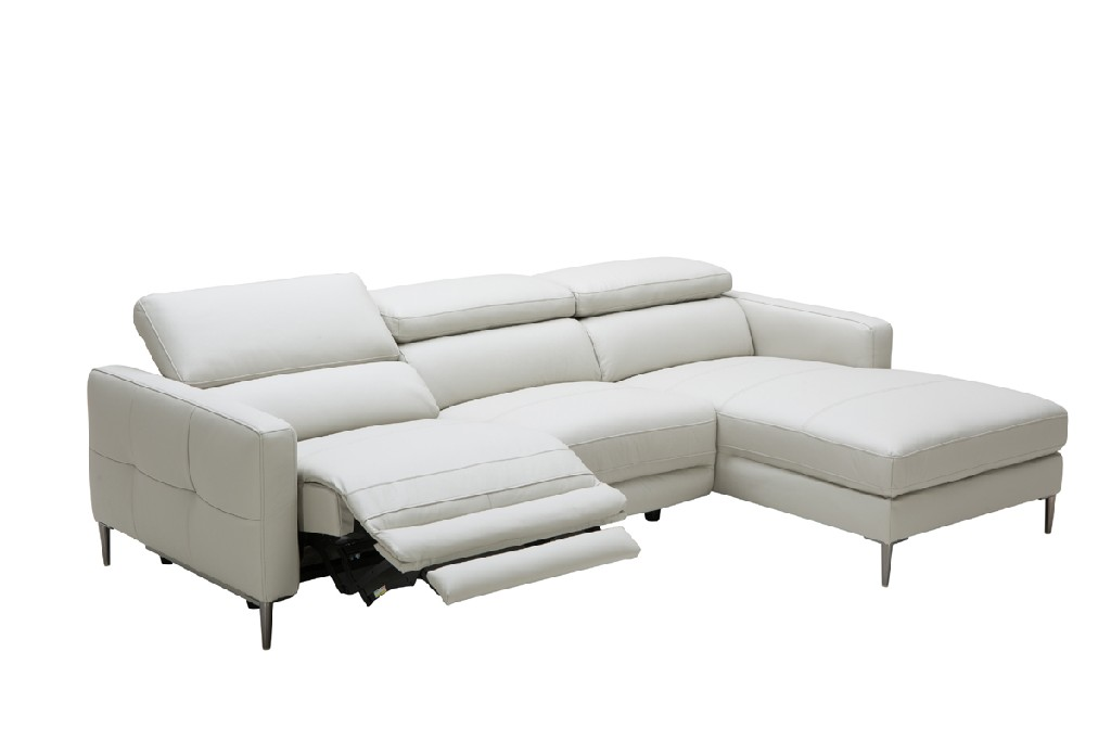 Divani Casa Booth Modern Light Grey Leather Sectional Sofa w/ Electric Recliner - VIG Furniture VGKM5237-LTGRY