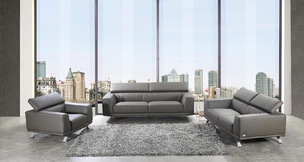 Divani Casa Brustle Modern Dark Grey Eco-Leather Sofa Set - VIG Furniture VGKN8334-GRY