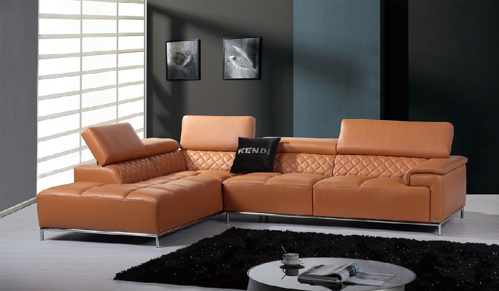 Divani Casa Citadel Modern Orange Italian Leather Sectional Sofa - VIG Furniture VGKNK8482-ORG-NOAUDIO