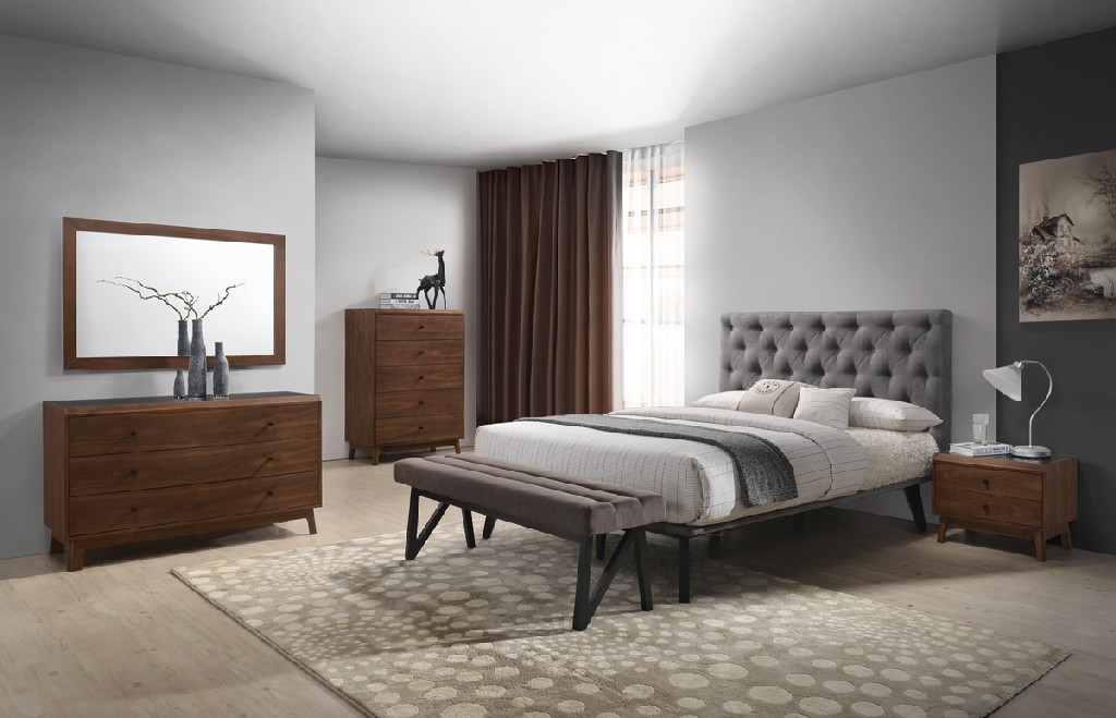 Vig Walnut Bedroom Set