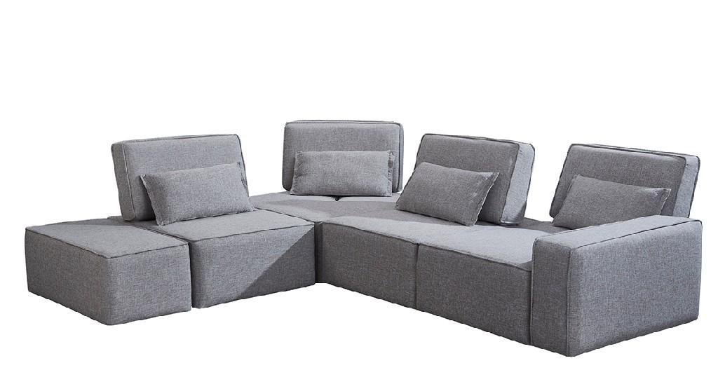 Divani Casa Chapel Modern Light Grey Fabric Sectional Sofa w/ Ottoman - VIG Furniture VGMB-1686-GRY