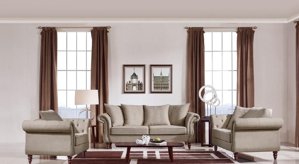 Transitional Beige Fabric Sofa Set