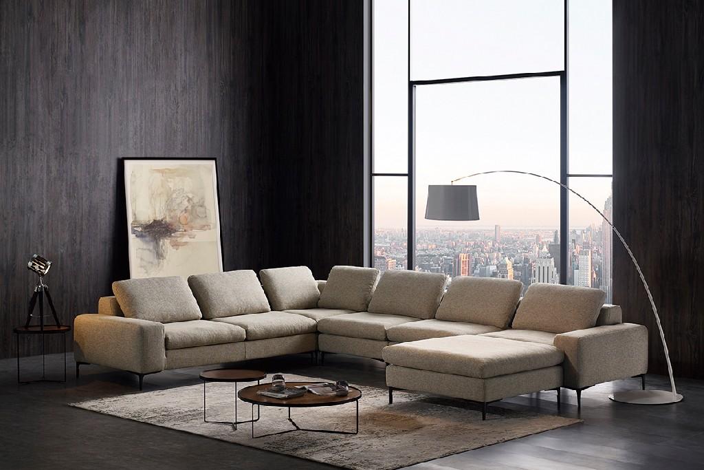 Beige Fabric Sectional Sofa