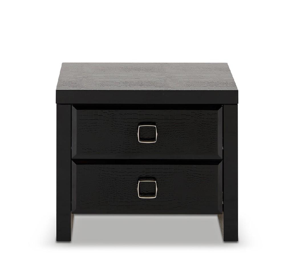 A&X Glam Black Crocodile Nightstand - VIG Furniture VGUNAA313-60-BLACK