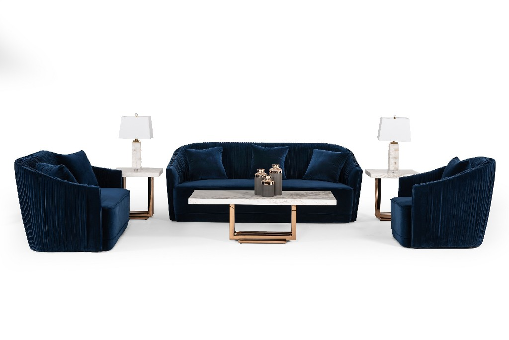 Palomar Blue Brass Sofa Set