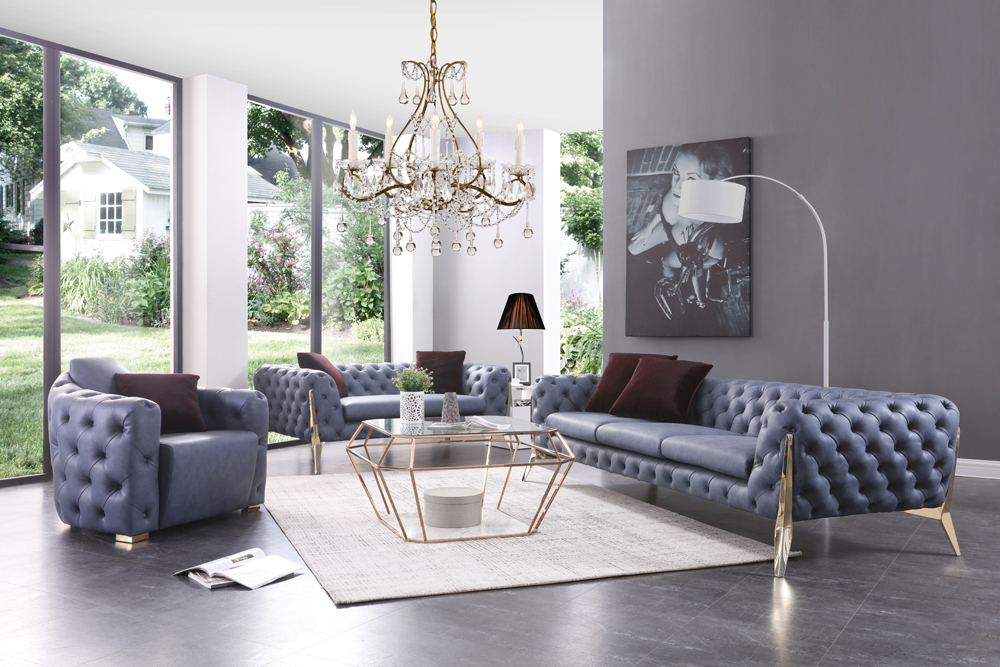 Catania Transitional Blue Leatherette Sofa Set