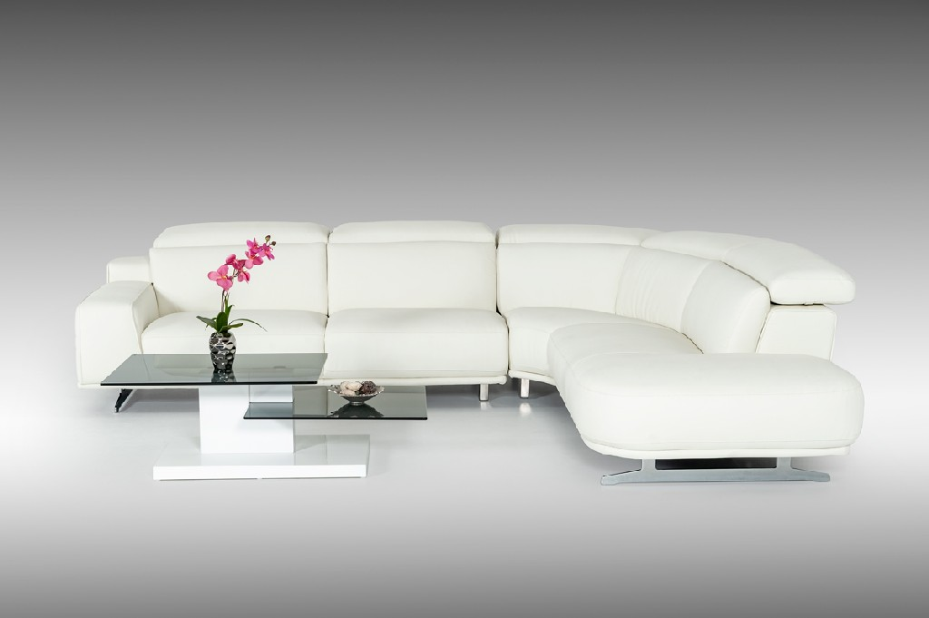 White Leatherette Sectional Sofa
