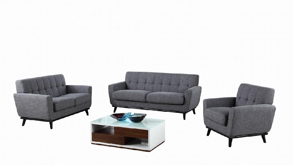 Divani Casa Corsair Modern Grey Fabric Sofa Set - VIG Furniture VGYIT380-GRY