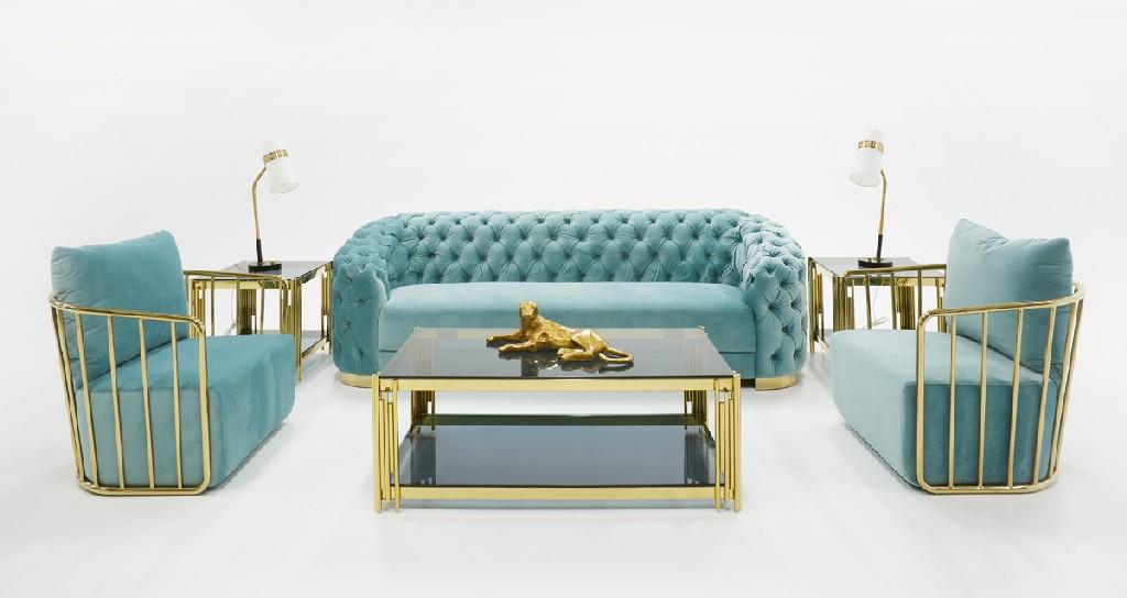 Voss Modern Blue Velvet Sofa