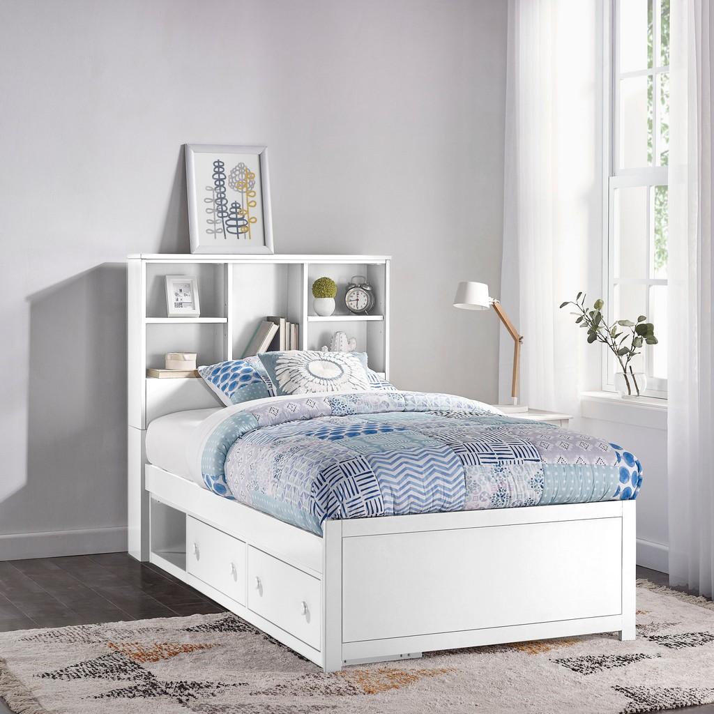 Caspian Twin Bookcase Bed Storage Unit White Hillsdale