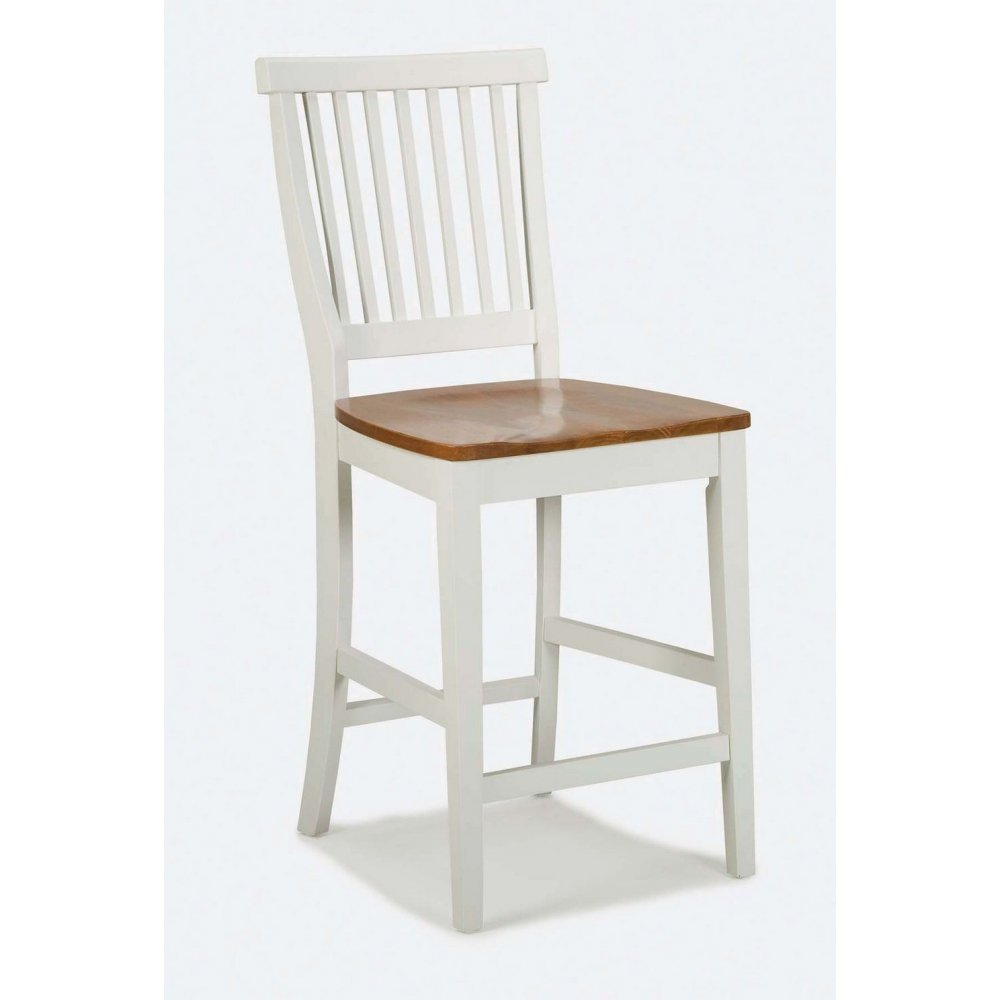 24 inch White and Distressed Oak Bar Stool - Homestyles Furniture 5002-89