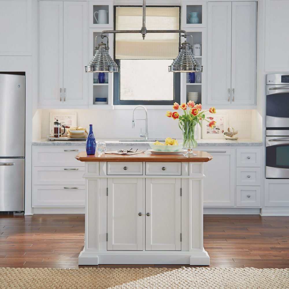 Image of Kitchen Island White and Distressed Oak Finish - Homestyles Furniture 5002-94