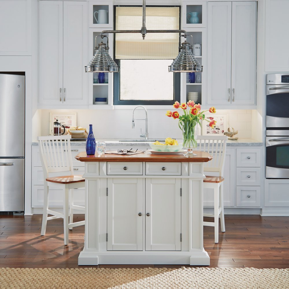 Image of Kitchen Island and Stools White and Distressed Oak - Homestyles Furniture 5002-948