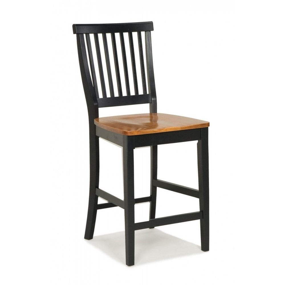 24 inch Black and Distressed Oak Bar Stool - Homestyles Furniture 5003-89