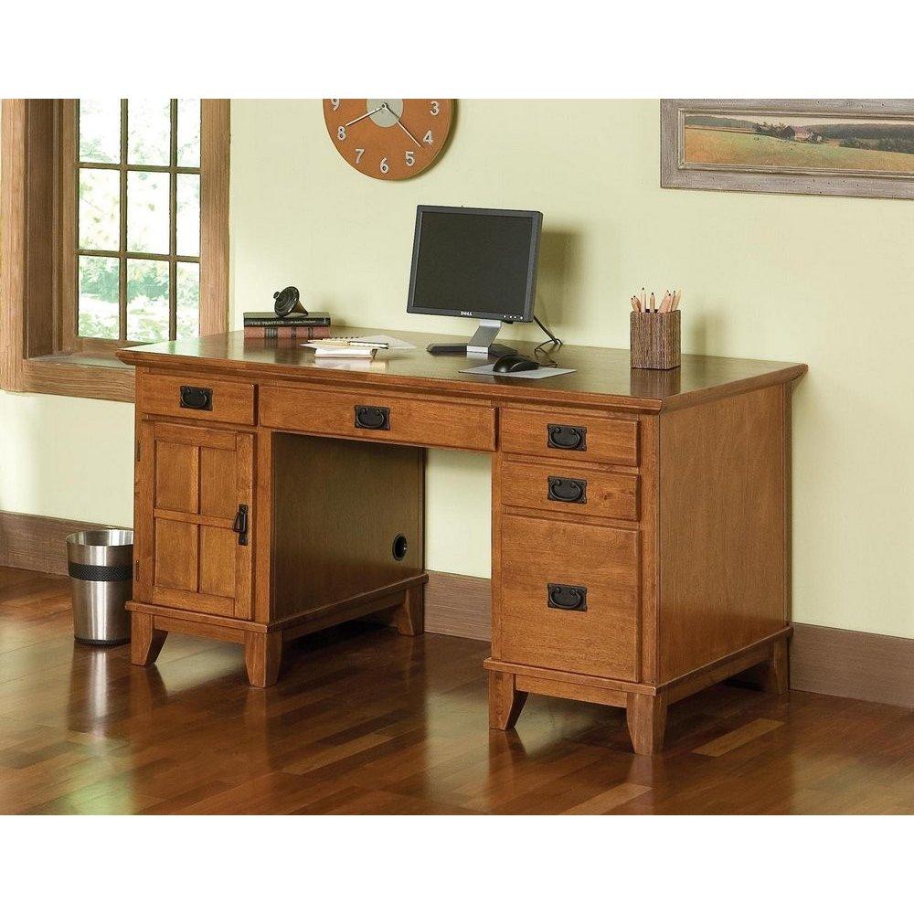 Arts and Crafts Pedestal Desk Cottage Oak Finish - Homestyles Furniture 5180-18