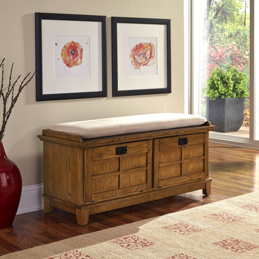 Arts & Crafts Cottage Oak Upholstered Bench - Homestyles Furniture 5180-26