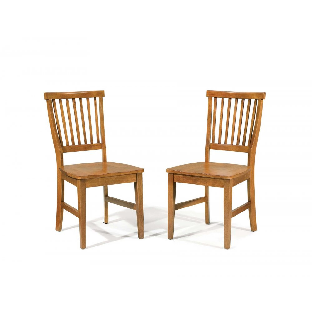 Arts and Crafts Dining Chair Cottage Oak Pair - Homestyles Furniture 5180-802