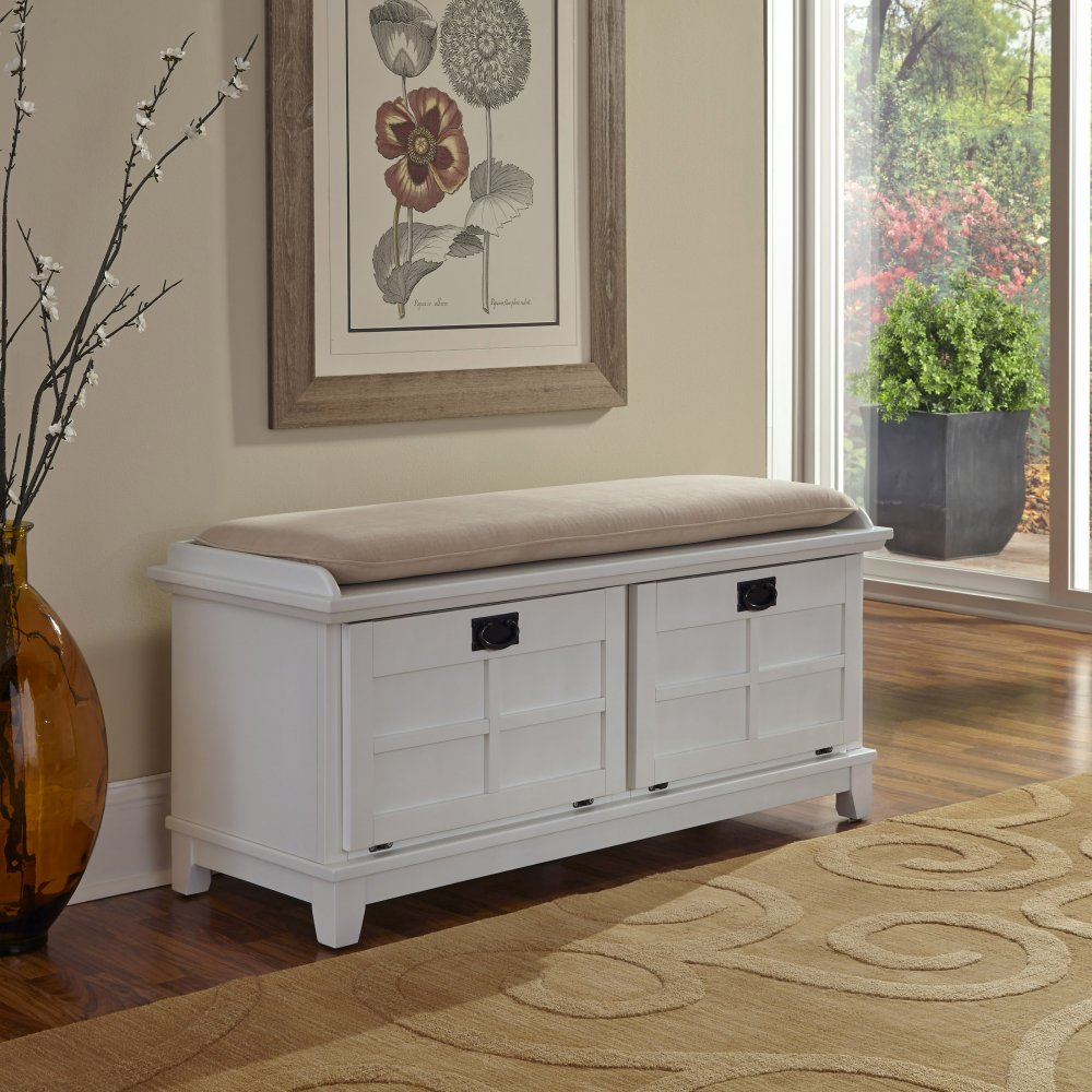 Arts & Crafts White Upholstered Bench - Homestyles Furniture 5182-26