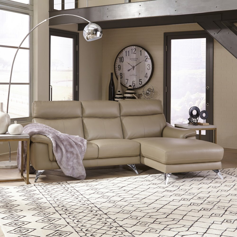 Leather Upholstered Chaise Sofa