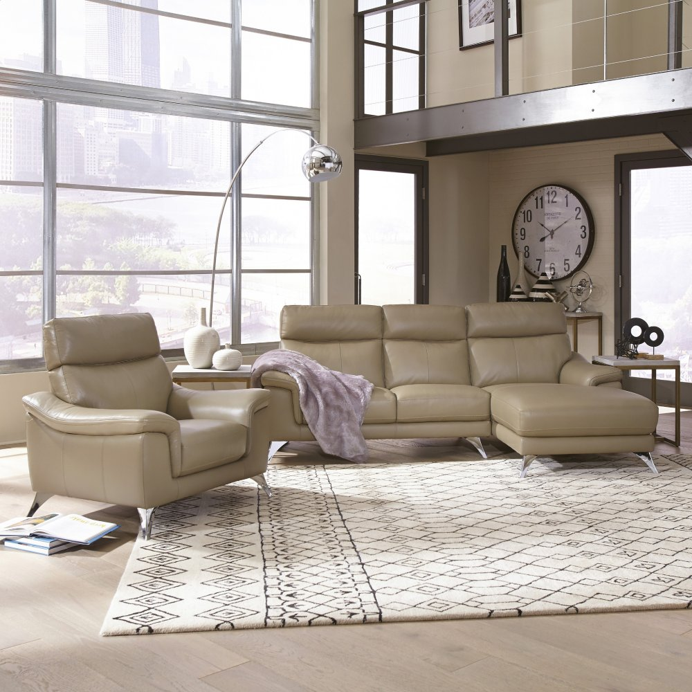 Leather Upholstered Chaise Sofa Chair