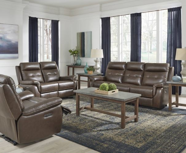 Leather Power Reclining Sofa Console Love Seat Recliner