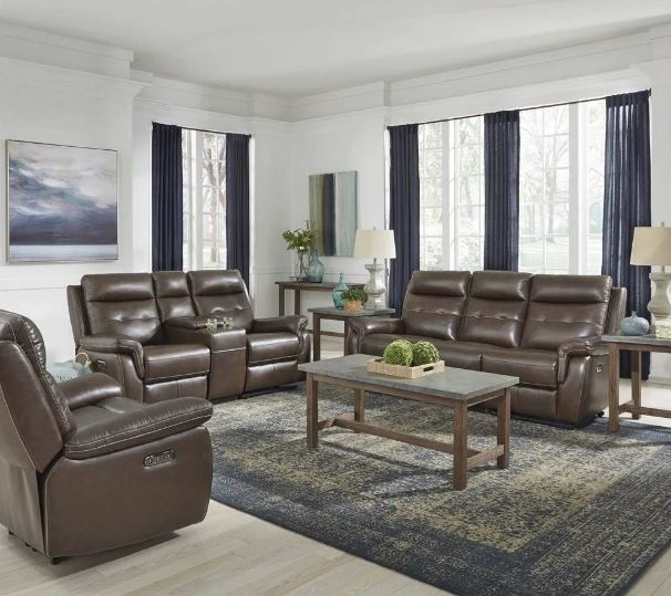 Leather Power Reclining Sofa Love Seat Recliner