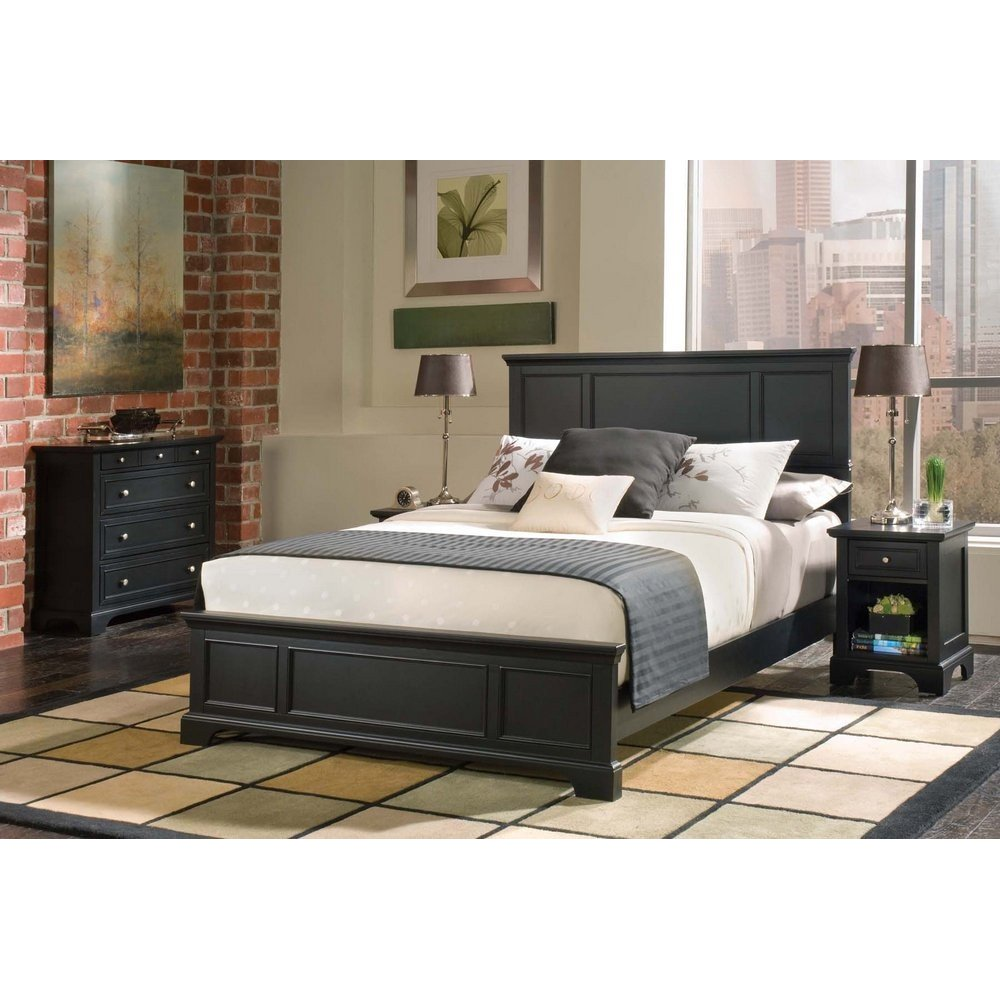 Homestyles Black Queen Bed Night Stand Chest
